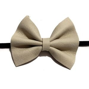 cream suede leather textured hair bow raw hem